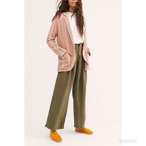 Free People Simply Stripe Linen Slouchy Blazer